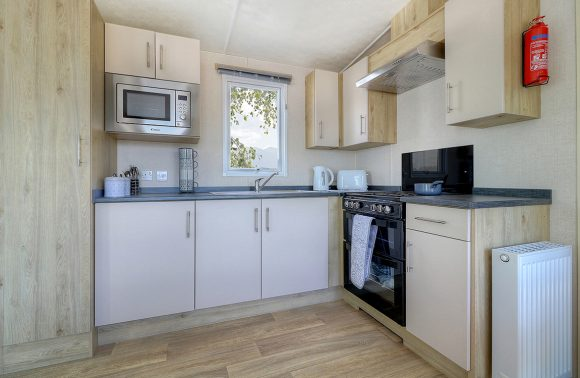 Static Holiday Caravan Kitchen