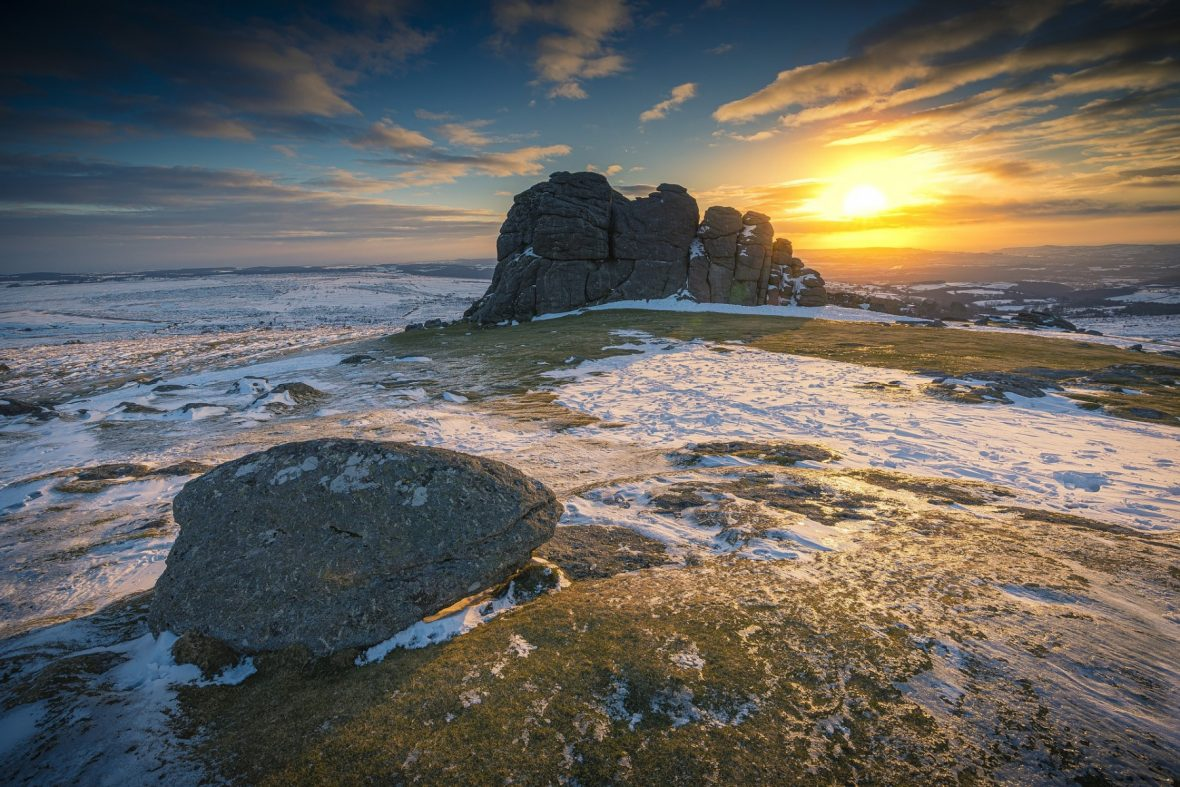 A view of Dartmoor National Park in winter